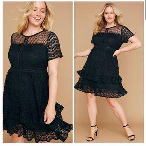 Lane Bryant Black Lace Sheer Ruffle Hem Dress